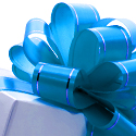 Photo of a gift box wrapped with blue ribbon.