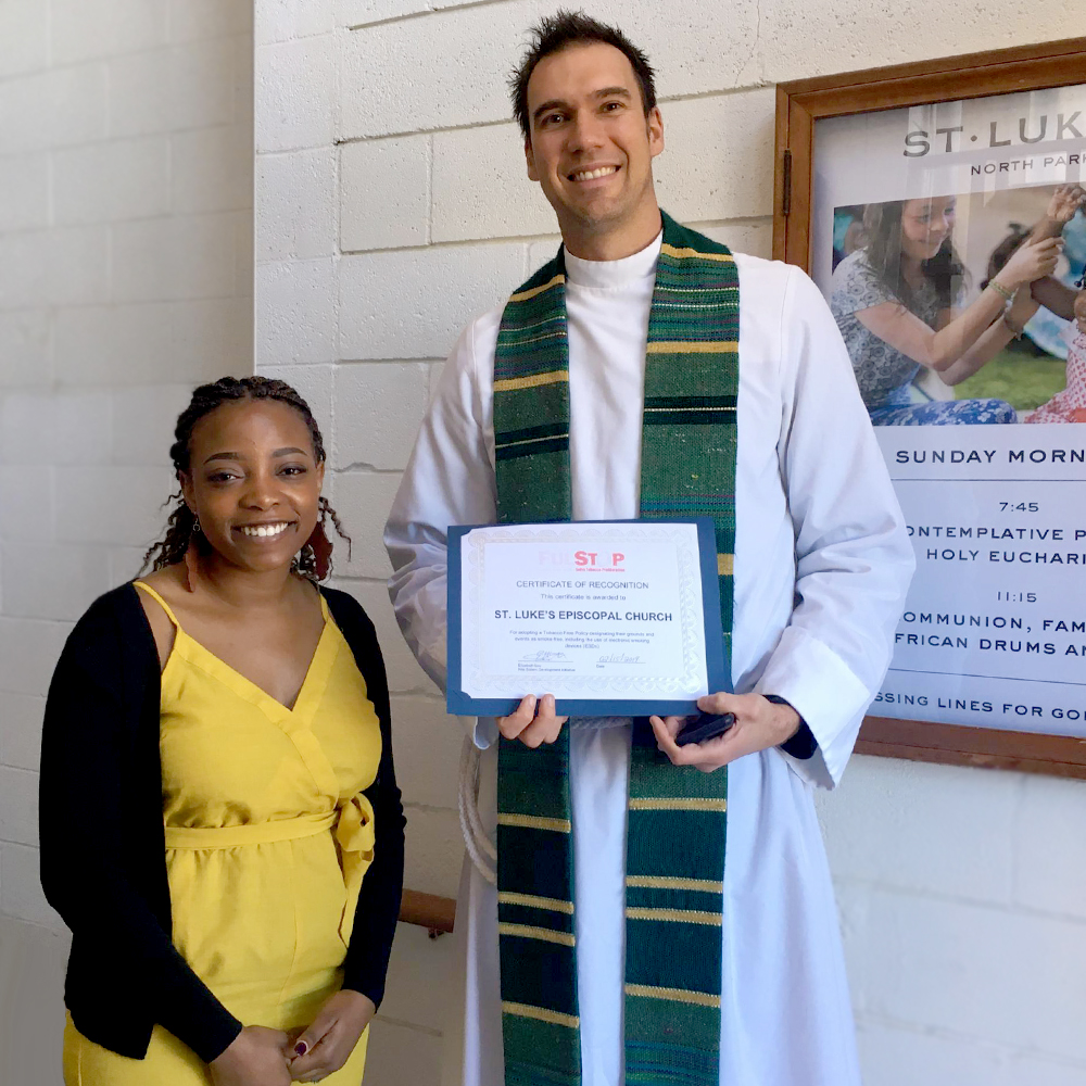 FULSToP Community Engagement Specialist, Patricia Wakhusama and Colin Mathewson, Pastor at St. Luke's Episcopal Church.