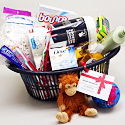 Photo of a plastic laundry basket filled with household products