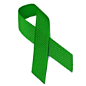 Photo of a Mental Health Awareness Month green ribbon.