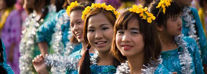 Beautiful Young Burmese Dancers in Traditional Costumes